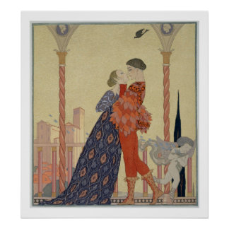 Lovers on a Balcony (w/c on paper) Poster