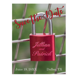 Lovers Padlock Specialized Red Save the Date Postcard