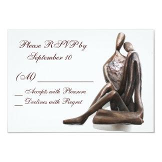 Lovers Sculpture RSVP Card 9 Cm X 13 Cm Invitation Card