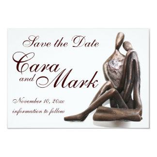 Lovers Sculpture Save the Date Card 9 Cm X 13 Cm Invitation Card