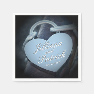 Lovers Silver Padlock Specialized Overlay Paper Napkin