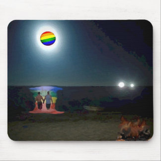 Lovers Under the Gay Pride Moon Mouse Pad