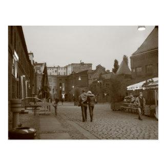 Lovers walking postcard
