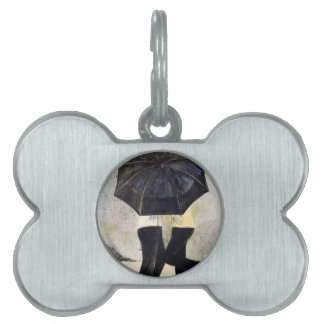 Lovers with umbrella in rain pet ID tags