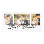 Loves and Thanks Black Script 3-Photo Personalized Photo Card
