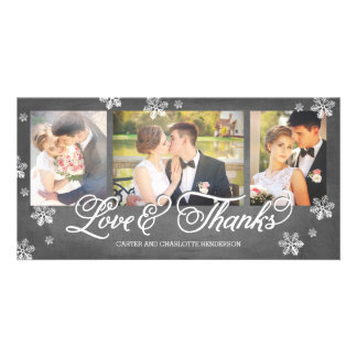 Loves and Thanks Chalkboard Snowflake 3-Photo Personalised Photo Card