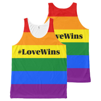 #LoveWins Marriage Equality Celebration Rainbow All-Over Print Singlet