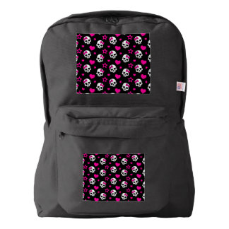 Lovey Goth Skulls in Bright Pink Backpack
