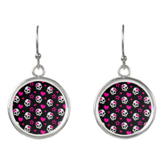 Lovey Goth Skulls in Bright Pink Earrings