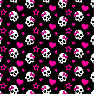 Lovey Goth Skulls in Bright Pink Photo Sculpture Decoration