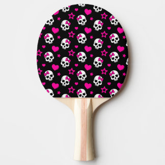 Lovey Goth Skulls in Bright Pink Ping Pong Paddle