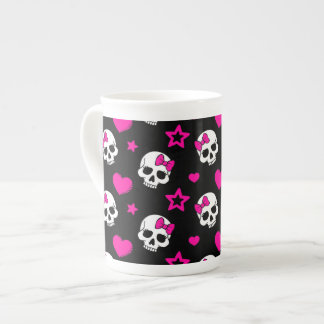 Lovey Goth Skulls in Bright Pink Tea Cup
