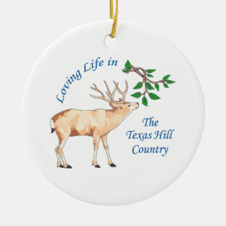 LOVIN TEXAS HILL COUNTRY CERAMIC ORNAMENT