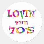 Lovin the 70s round sticker