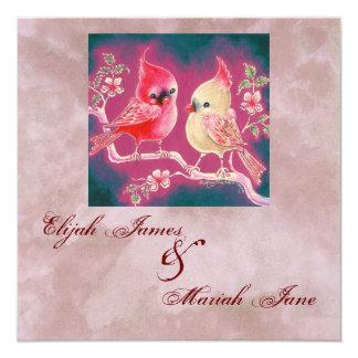 "Loving Cardinal Pair For Wedding 5.25"" Square Invitation Card"