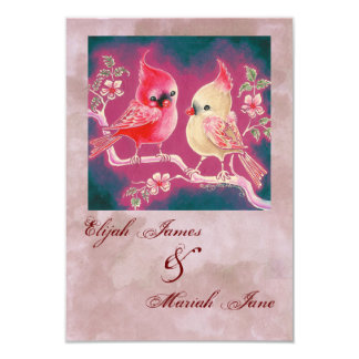 "Loving Cardinal Pair For Wedding 3.5"" X 5"" Invitation Card"