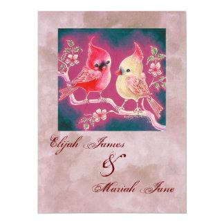"Loving Cardinal Pair For Wedding 5.5"" X 7.5"" Invitation Card"
