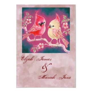 "Loving Cardinal Pair For Wedding 5"" X 7"" Invitation Card"