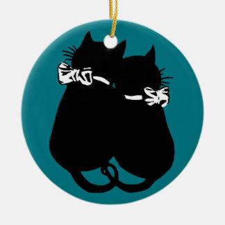 Loving Cats Round Ceramic Decoration