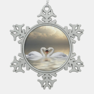 Loving Christmas swans Snowflake Pewter Christmas Ornament