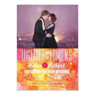 Loving couple dancing in the night city 13 cm x 18 cm invitation card