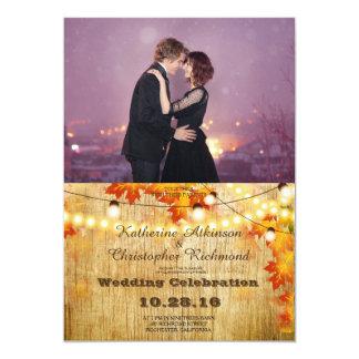Loving couple dancing in the night city/fall theme 13 cm x 18 cm invitation card