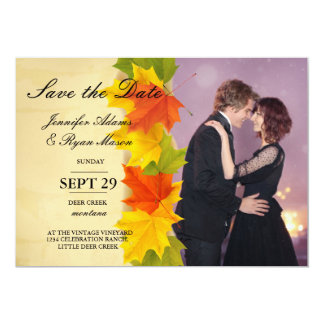 Loving couple dancing in the night city/fall theme card