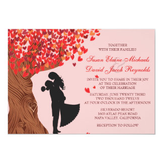 Loving Couple Initials Oak Tree Fall Wedding Card