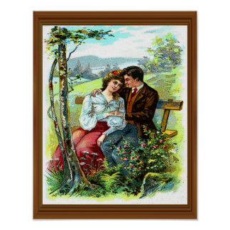 Loving Couple Vintage Hugging Bench Floral Poster