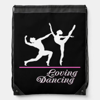 Loving dancing drawstring bag