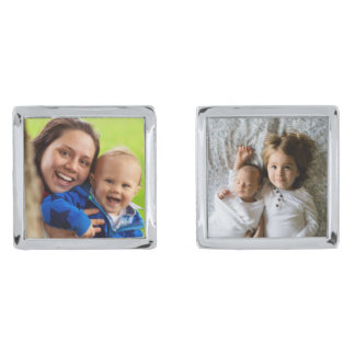 Loving Family time upload your own photo frame Silver Finish Cuff Links