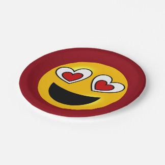 Loving Heart Emoji 7 Inch Paper Plate