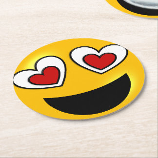 Loving Heart Emoji Round Paper Coaster