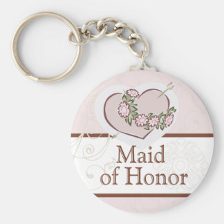 Loving Heart Maid of Honor Wedding Button Key Ring
