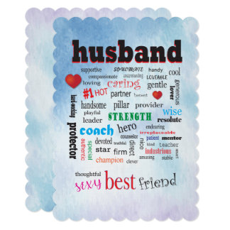 Loving Husband Word Cloud Blue Watercolor Back Card