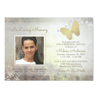 Loving Memory Golden Butterfly Memorial Invite