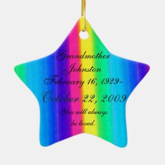 Loving Memory Pastel Rainbow Death Memorial Star Ceramic Ornament