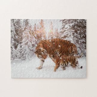 Loving Mother Tiger and Cub Enjoying Snowy Walk Jigsaw Puzzle