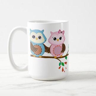 Loving Owl couple on a branch Basic White Mug