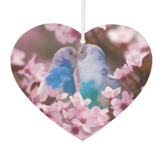 Loving Parakeets and Pink Flowers Car Air Freshener