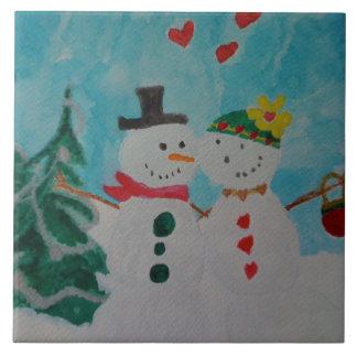 LOVING SNOW COUPLE ON KITCHEN TILE TRIVET