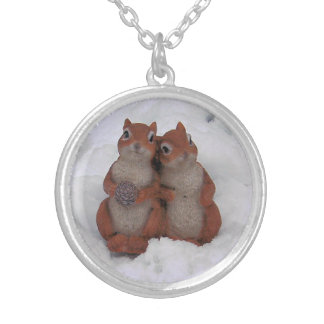 Loving Squirrel Couple Cuddling in Fluffy Snow Silver Plated Necklace