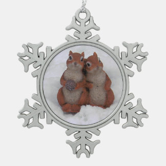 Loving Squrrels in Snow Pewter Ornament/Necklace Pewter Snowflake Decoration