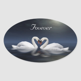 Loving swans oval sticker