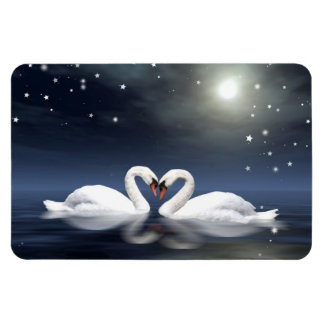 Loving swans rectangular photo magnet
