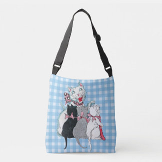 Loving White Mother Cat With Three Kittens Plaid Crossbody Bag