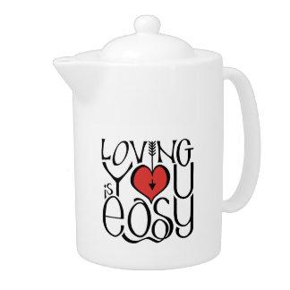 Loving You black red Teapot