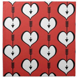 Loving You Heart white Cloth Napkins (set of 4)
