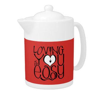 Loving You red white Teapot
