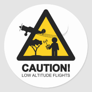 Low altitude flights classic round sticker
